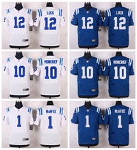 Indianapolis Colts #12 Andrew Luck #10 Donte Moncrief #1 Pat McAfee Elite White and Royal Blue Team Color free shipping(China (Mainland))