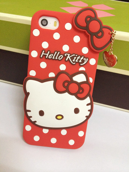 Free shipping Hello kitty 3D Cute Cartoon Case For iphone4G 5G Soft silicone skin cases(China (Mainland))