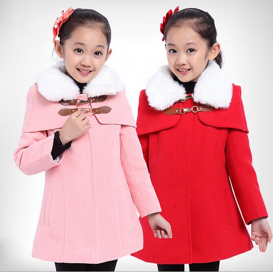 Девушка теплое пальто нового зимнего пальто корейских детей плюс бархат