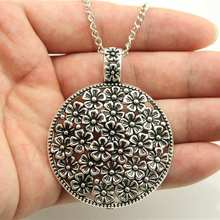 Buy Pendant Necklace Bohemia Chokers Necklaces Rope Chain antique silver tone round flowers pendant necklace chain long necklace for $1.04 in AliExpress store
