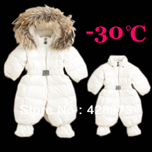 Winter Girl Down Romper Boy Down Snow Wear Thick Warm Jacket 100% White Duck Down Coat and Feather Execellant Quality()