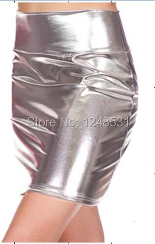 2015 metallic liquid pencil skirt mini skirt above