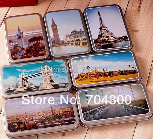 World famous places postcard style card tin box relief stereo small tin kit storage candy box(China (Mainland))