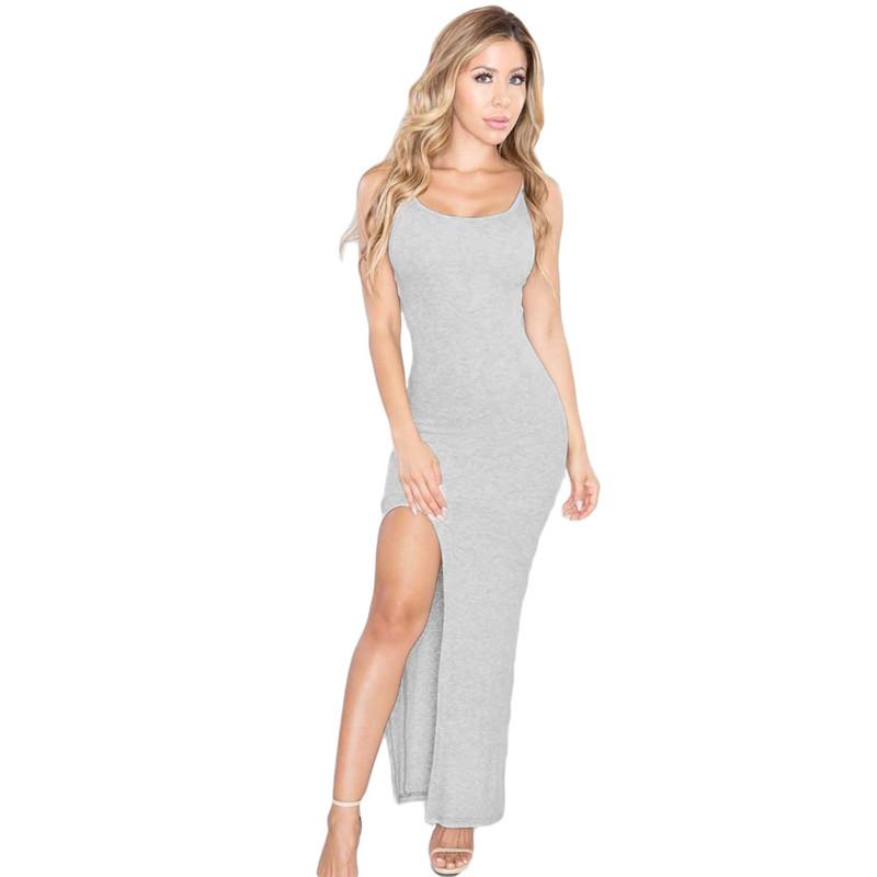 New Arrival Summer Women Maxi Dress Long Blue/Grey Cami Slit Maxi Jersey Dresses Long For Woman One-piece Dress(China (Mainland))
