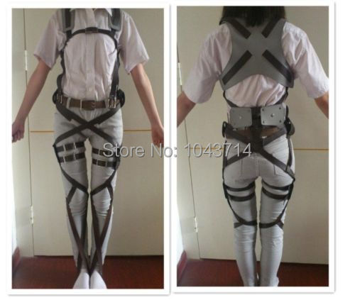 Cos cosplay Attack on Titan Shingeki no Kyojin Recon Corps belt hookshot costume