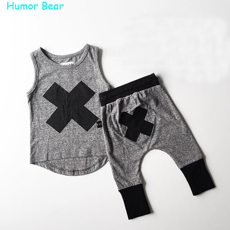 Humor Bear 2017 baby Boys girls clothes Casual Clothing Sets Children's Suit sleeveless Blouse+Haroun pants Summer kids set