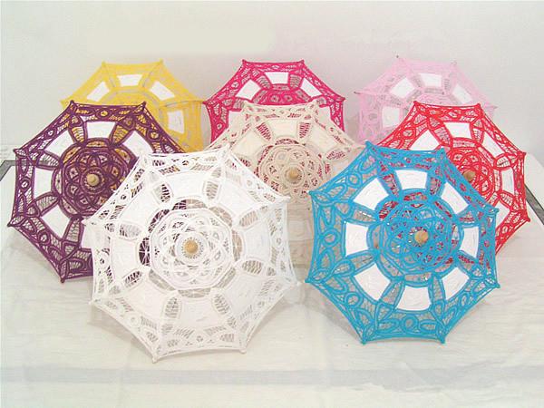 Sale 20pcs/lot 19cm Cotton Embroidery Battenburg Lace Umbrella Mini Classic Umbrella For Wedding Party Decoration Supplies(China (Mainland))