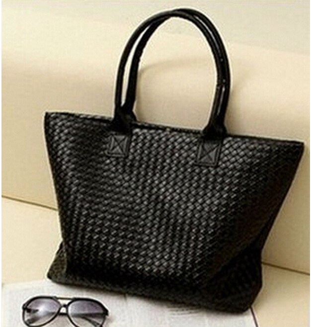 Hot Selling Women PU Leather Handbags Totes Shoulder Bags Large Capacity Weave Bags Fashion Design Bag Free Shipping Wholesale(China (Mainland))