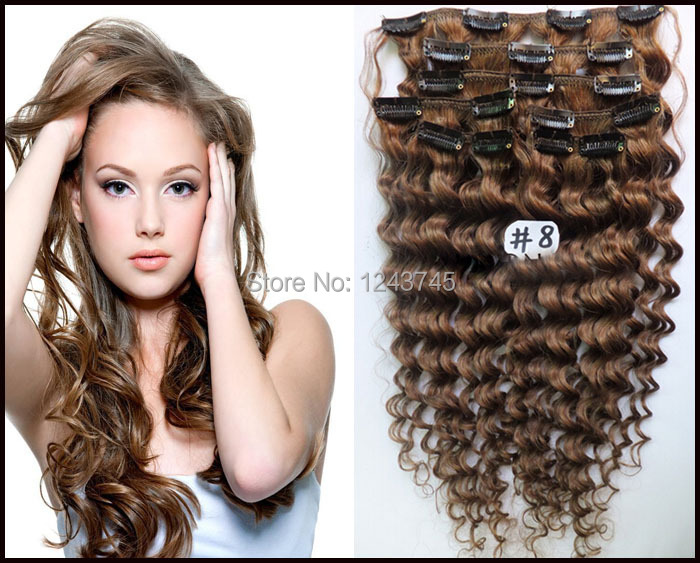Curly Light Brown Human Hair Extensions Human Hair Extensions