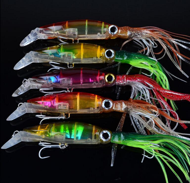 Hot 5pc/lot squid hook Fishing lures 14cm/40g 1/0# Squid Jigs Lures 5 color Squid Jigs Hook Mixed squid lure(China (Mainland))