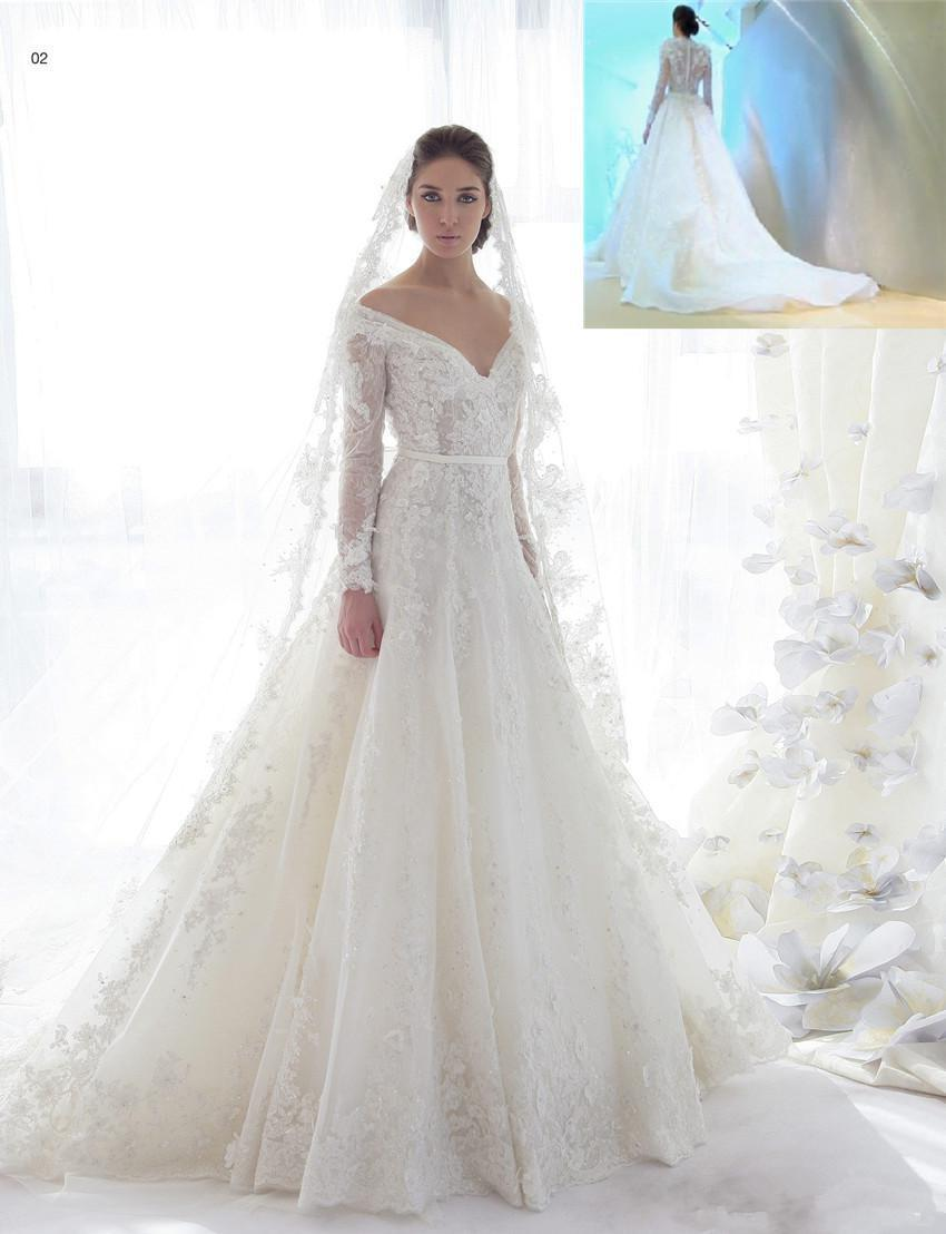 2015 mot beautiful lace long sleeve wedding dresses chapel for Long sleeve lace wedding dresses