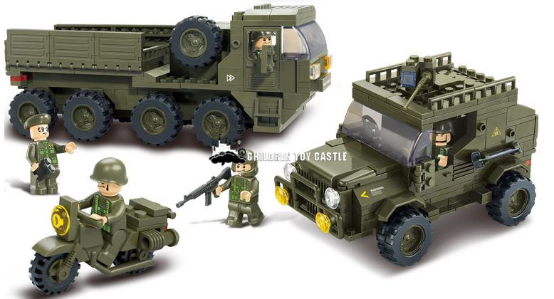 NEW B0307 Army armored vehicles Jeep Motorcycles 3D Construction Plastic Model Building Blocks Bricks Compatible With legoe(China (Mainland))