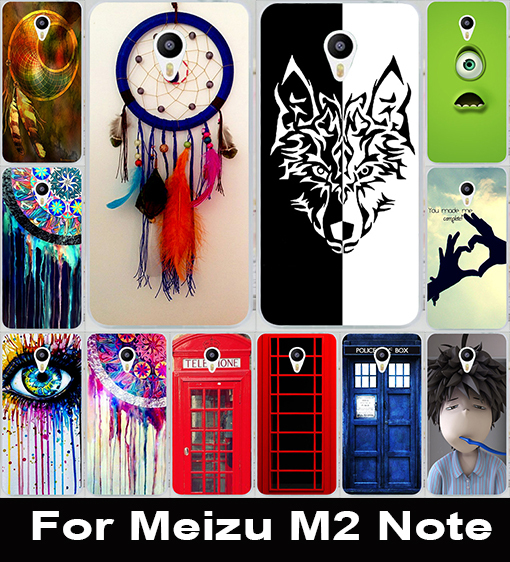 New Telephone Booth Letters Series Painted Protective Plastic Mobile Phone Case For Meizu M2 Note Shell Hood Cover Skin Bags(China (Mainland))