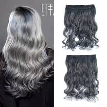 Grey color Clip Hair Extension 1PC 120G 55cm Woman's long Hairpieces 5clips factory price heat resistant synthetic firber - ZM QUEEN store