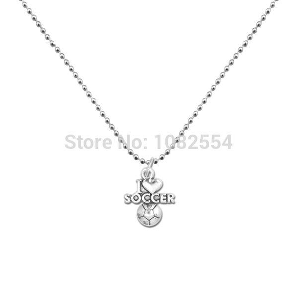 Football Necklace Trendy Anti-Silver I Love Soccer Message Charm Ball Chain Necklace(China (Mainland))