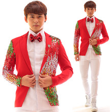 Buy Multicolor Sequins Red Cotton Men Jacket Rock Punk Dj Ds Bar Nightclub Male Singer Stage Show Clothing Individuality Slim Coat for $109.00 in AliExpress store