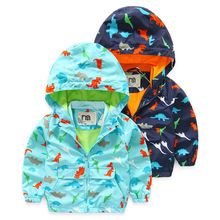 Retail 2016 Spring Fall Boys Outerwear&Coats Kids Dinosaur Pattern Jackets Handsome Casual Active Hooded Children Clothing
