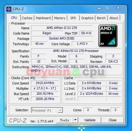 AMD Athlon II X2 270 3.4 GHz 2 MB Cache Dual-Core CPU Processor ADX270OCK23GM Socket AM3