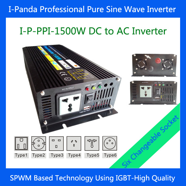 Stock 1500W Pure Sine Wave Inverter 1500W 12VDC TO 220VAC 50Hz Power Inverter 1500W 3000W Peak with Universal Socket for camping<br><br>Aliexpress