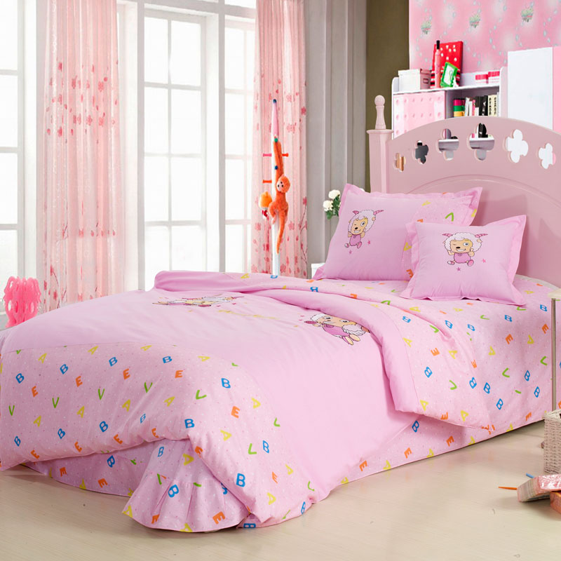 pink lamb cartoon cotton embroidered childrern kids gril