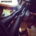 New 2016 Womens Shiny Lustrous Black Leggings Pants Shaping Pants Leggings Chinlon High Elastic Sexy Leggings