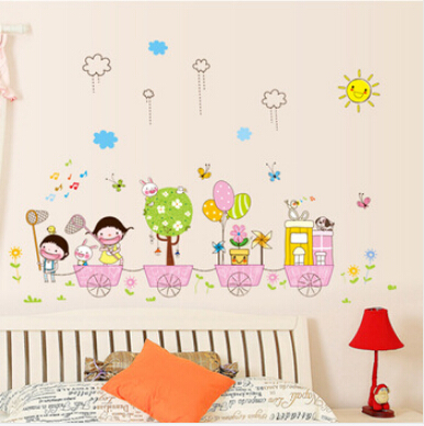 80*110cm DIY Child Vinyl Carton Wall Sticker Removable Cute Sun Rabbit Home Decor Paper Stickers For Kids Room Decoration