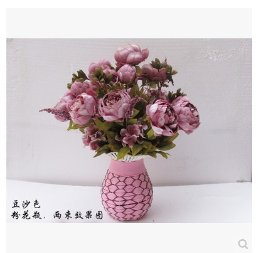 (20 pcs/lot) 7 peony flower head Purple High quality silk artificial peony flower for wedding flower home decor(China (Mainland))