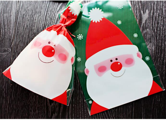 14x20cm top open chrismas Gift Food Packing bag Cellophane Bag/Cute Small Biscuit bag Plastic Bag/retail(China (Mainland))