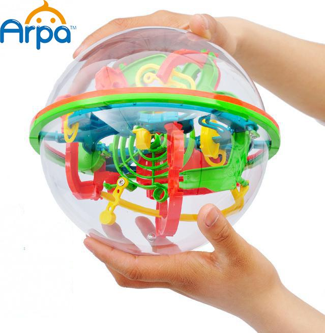 Arpa 100 Steps Small Big Size 3D Labyrinth Magic Rolling Globe Ball Marble Puzzle Cubes Brain Teaser Game Sphere Maze(China (Mainland))