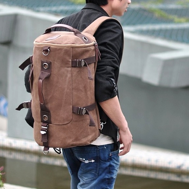 designer vintage canvas cool backpack men travel sports bag shoulder duffle travel bags military camping storage bagsMODHB00713