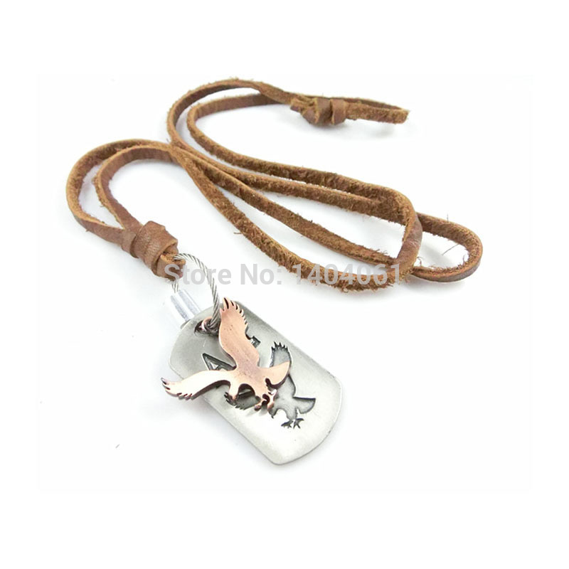 Vintage Black Leather Necklace Stringed Alloy Circle Cross Animal Head Portrait Pendant Handmade Sweater Chain(China (Mainland))