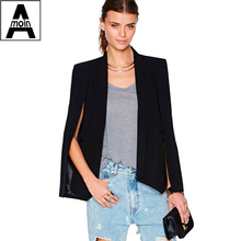 Champagne solid color unique female small suit jacket 2015 new fashion women open sleeve blazer jacket outwear(China (Mainland))
