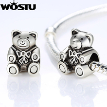 Hot Sale High Quality Silver Plated Bear Charm Beads Fit Original Pandora Bracelet Pendants For Women DIY Jewelry(China (Mainland))