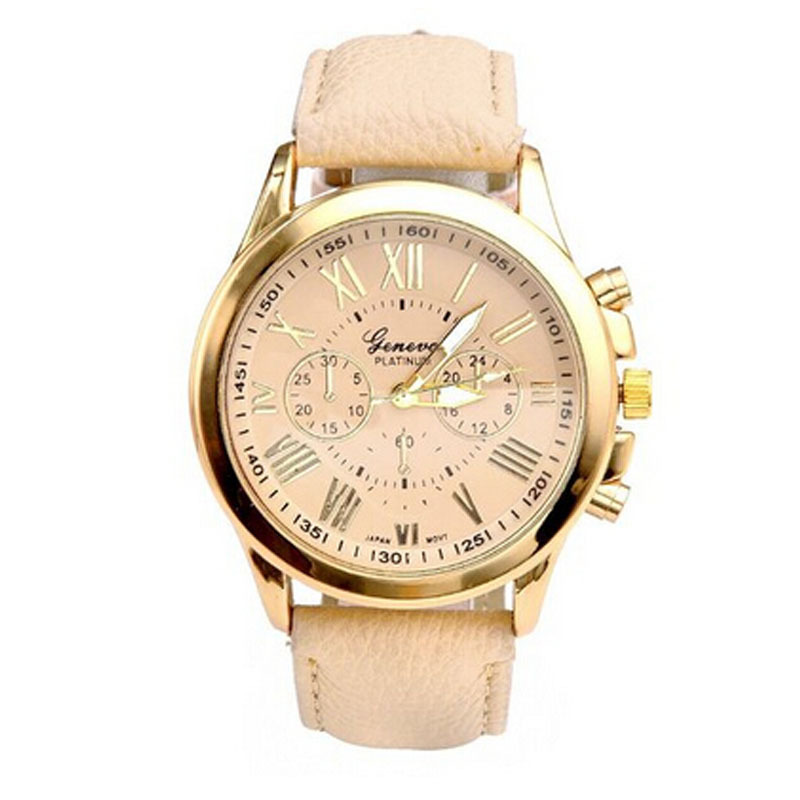 Luxury gold geneva women 39 s watch geneva pu leather analog quartz dress watches beige reloj clock for Watches geneva