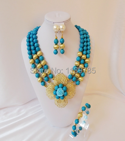 Luxury African Bridal Stone beads necklace DIY The wholesale  Nigeria wedding jewelry set new free shipping B-13472<br><br>Aliexpress
