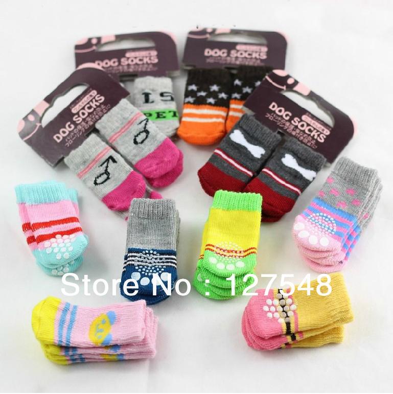 New 4 pcs / lot = 1 sets / lot Indoor Pet Dog Soft Cotton Anti-slip Knit Weave Warm Sock Skid Bottom Dog Shoes Drop shipping(China (Mainland))