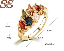 SparShine Rose Gold Rings For Women with Top Multicolor Crystal Roxi Fashion Wedding 925 Jewelry Ruby