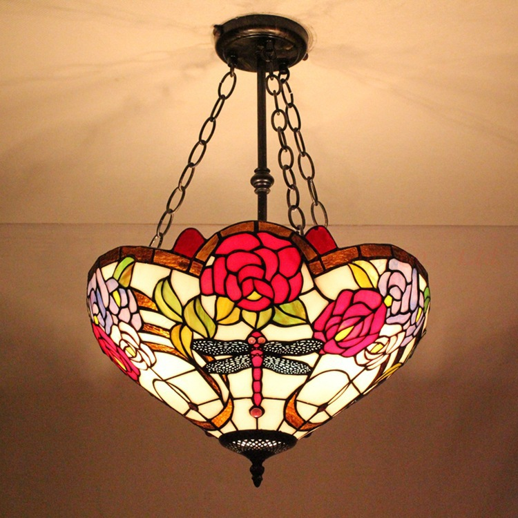 Tiffany Dragonfly Pendant 40CM European Anti Tiffany glass living room chandelier roses(China (Mainland))