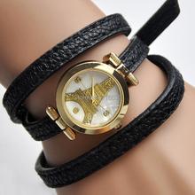 Strap Eiffel Bracelet Watch women   golden Eiffel rhinestone wristwatch girl PU leather PARIS new Fashion relogio Dropship