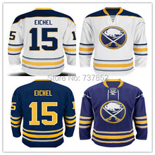 2015 Mens Cheap Buffalo Sabres 15 Jack Eichel Jersey Team Blue Away White Sewn Stitched Ice Hockey Jerseys Accept Free Shipping(China (Mainland))