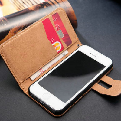 Stand Wallet Flip Cover Soft Vair Feel Luxury PU Leather Case For iPhone 5 5S 5G  With Bill Site 2 Card Holders 10 Pcs/lot