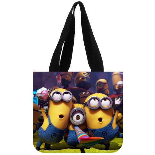 POOKOO!! Cartoon Movie Despicable Me minion Personalized Custom Shopping Tote Bag Cotton Canvas Handbags Two Sides(China (Mainland))