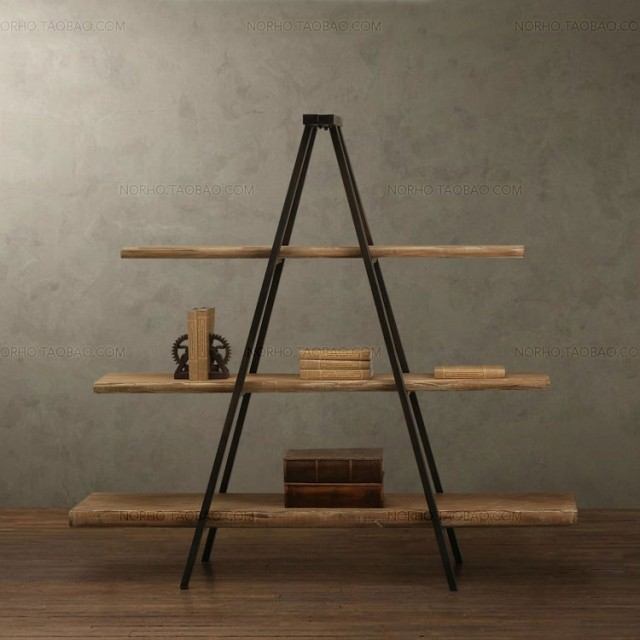 American Country Furniture Wrought Iron Wood Bookcase