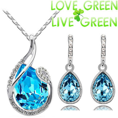 new arrival hot selling wholesales 18KGP austrian Crystal water drop droplet jewelry sets fashion necklace earrings sets 80046(China (Mainland))