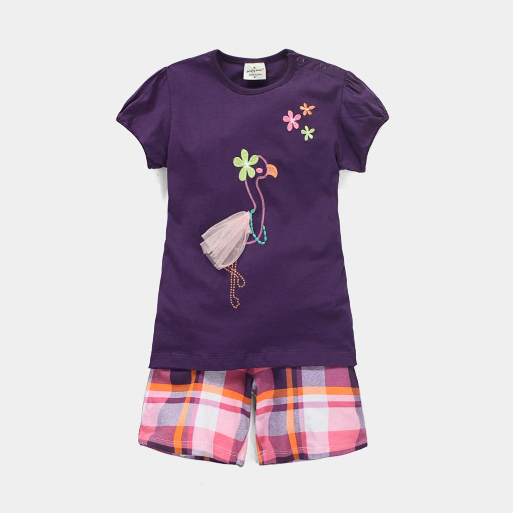 2015 Summer Girl Clothes Girl's Suit Set Purple Girl's T shirt + Plaid Shorts for Baby Girls 1-6y Children Set Vestidos Meninas(China (Mainland))