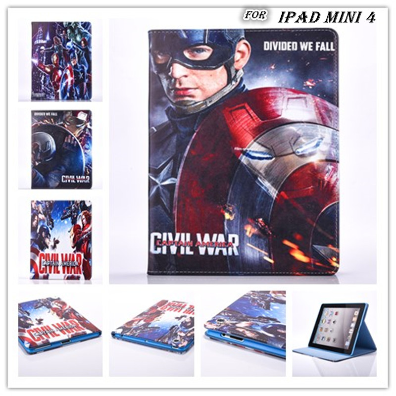 freeshipping 2016 new Super Hero IRONMAN captain america civil war pu Leather case stand flip Case cover for ipad mini4 mini 4(China (Mainland))