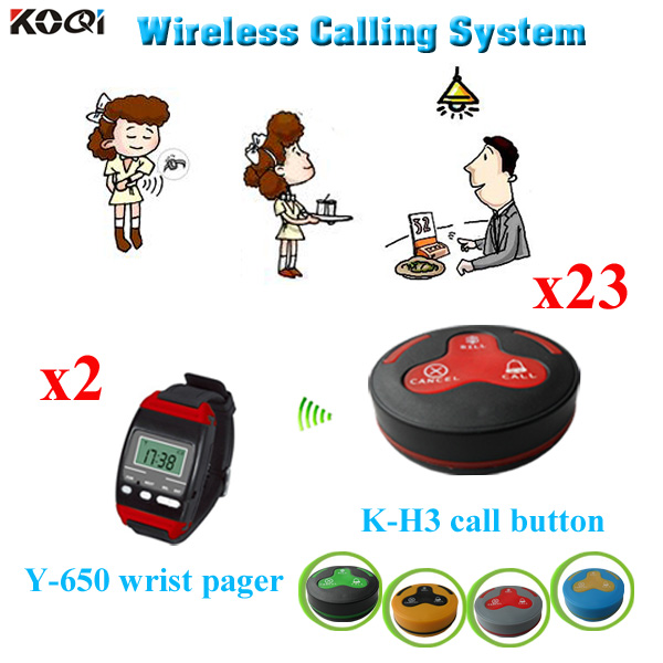wireless waiter service center call system for restaurant from gold supplier china 2 wrist watch + 23 bell button(China (Mainland))