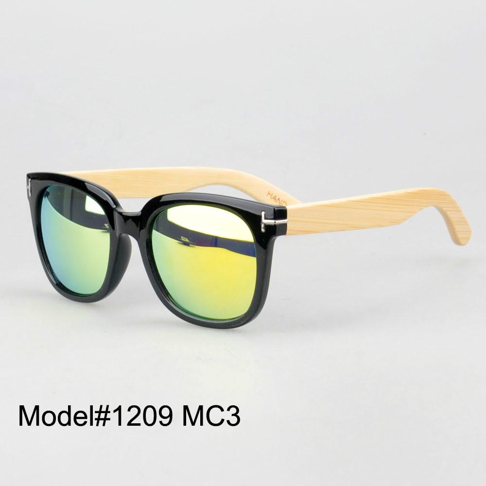 #1209 UNISEX bamboo nature sunglasses UV400 Polarized lens with spring hinge 6 color choice(China (Mainland))