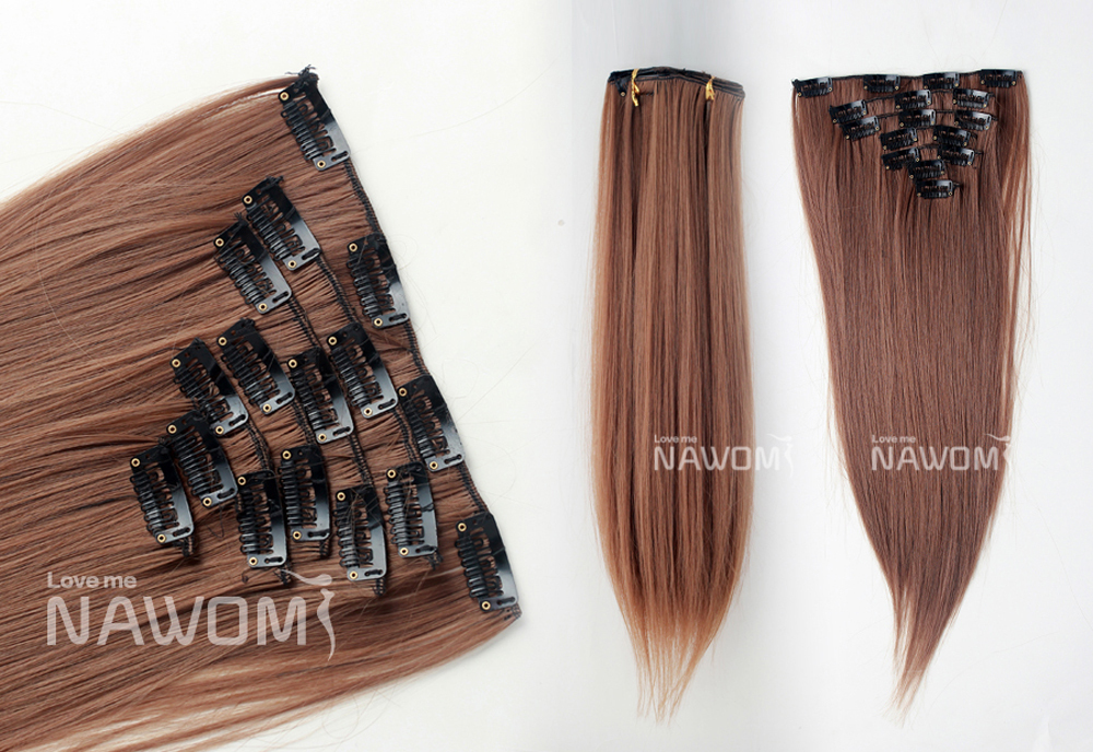 Free shipping 100% kanekalon women Long straight clip hair extensions synthetic hair pieces hairpiece extension hair(China (Mainland))