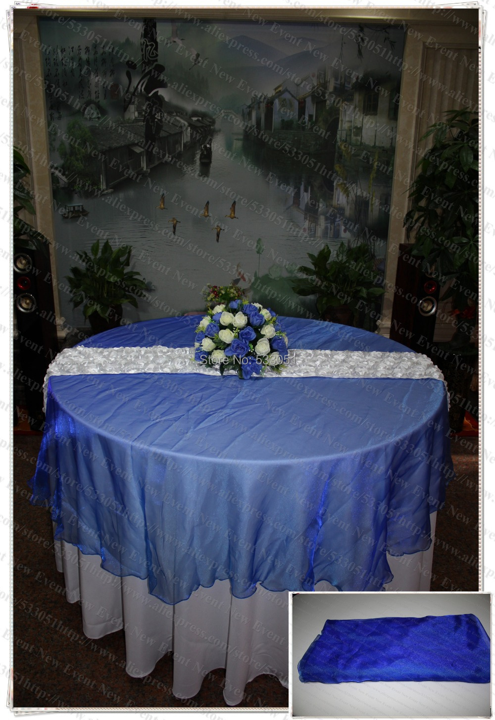 210cm Round NO.53 Royal Blue Color Organza Table Overlay/Table Cover/Tablecloth For Wedding Party Home Hotel Banquet Decorations(China (Mainland))